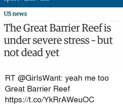 Funny, News, and Yeah: US news  The Great Barrier Reef is  under severe stress-but  not dead yet RT @GirIsWant: yeah me too Great Barrier Reef https://t.co/YkRrAWeuOC