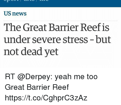 Funny, News, and Yeah: US news  The Great Barrier Reef is  under severe stress-but  not dead yet RT @Derpey: yeah me too Great Barrier Reef https://t.co/CghprC3zAz