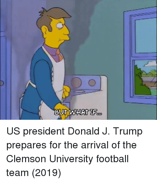 clemson: US president Donald J. Trump prepares for the arrival of the Clemson University football team (2019)