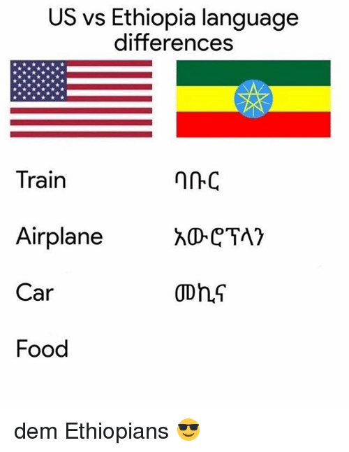 Ethiopians: US vs Ethiopia language  differences  Train  Airplane  Car  Food dem Ethiopians 😎