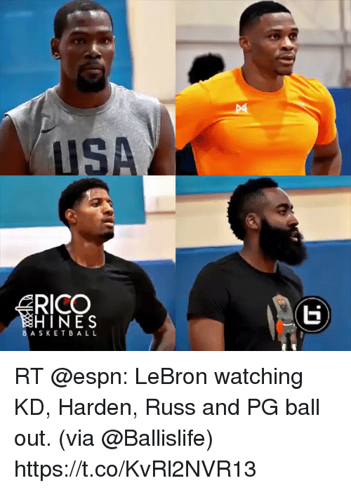 Espn, Memes, and Lebron: USA  RICO  HINES  BASKET BA L L RT @espn: LeBron watching KD, Harden, Russ and PG ball out. (via @Ballislife) https://t.co/KvRl2NVR13