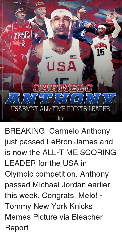 Carmelo Anthony, Jordans, and New York Knicks: USA  USA  15  EURO  USABMNT ALL TIME POINTS LEADER  br BREAKING: Carmelo Anthony just passed LeBron James and is now the ALL-TIME SCORING LEADER for the USA in Olympic competition. Anthony passed Michael Jordan earlier this week. Congrats, Melo! -Tommy New York Knicks Memes Picture via Bleacher Report