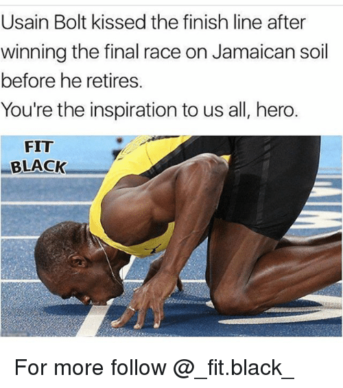 Bolting: Usain Bolt kissed the finish line after  winning the final race on Jamaican soil  before he retires.  You're the inspiration to us all, hero.  FIT  BLACK For more follow @_fit.black_