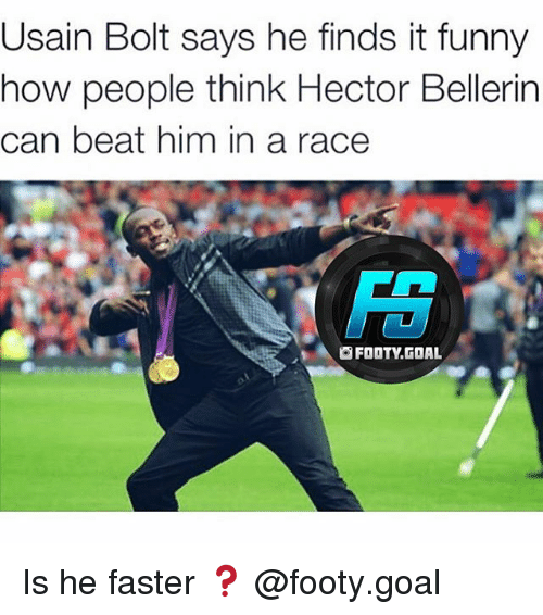 Hector Bellerin: Usain Bolt says he finds it funny  now people think Hector Bellerin  can beat him in a race  FT  A囫FOOTY.GOAL Is he faster ❓ @footy.goal