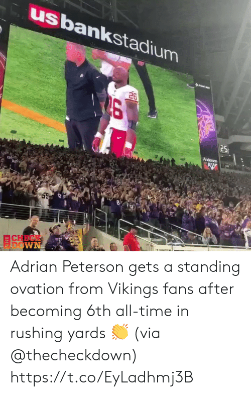 andersen: usbankstadium  26  25  Andersen  AW  CHECK  FDOWN Adrian Peterson gets a standing ovation from Vikings fans after becoming 6th all-time in rushing yards 👏 (via @thecheckdown) https://t.co/EyLadhmj3B