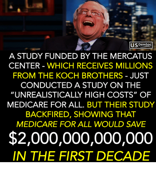 """Medicare: USDemsoc  A STUDY FUNDED BY THE MERCATUS  CENTER - WHICH RECEIVES MILLIONS  FROM THE KOCH BROTHERS - JUST  CONDUCTED A STUDY ON THE  """"UNREALISTICALLY HIGH COSTS"""" OF  MEDICARE FOR ALL. BUT THEIR STUDY  BACKFIRED, SHOWING THAT  MEDICARE FOR ALL WOULD SAVE  $2,000,000,000,000  IN THE FIRST DECADE"""