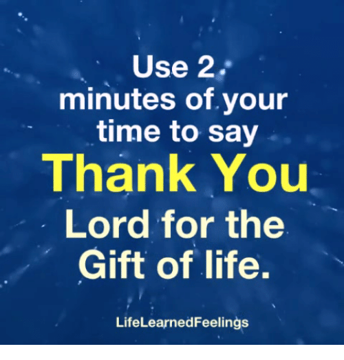 Life, Thank You, and The Gift: Use 2.  minutes of.your  time to say  Thank You  Lord for the  Gift of life.  LifeLearnedFeelings