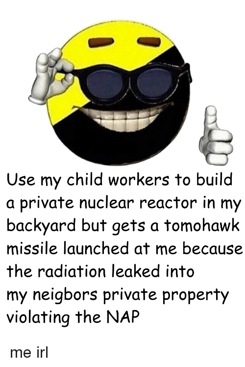 use my child workers to build a private nuclear reactor in my backyard