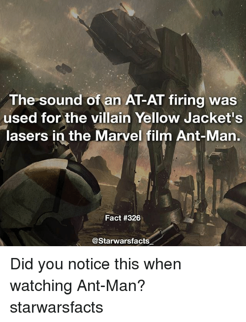 yellow jackets: used for the villain Yellow Jacket's  lasers in the Marvel film Ant-Man  Fact #326  astarwarsfacts Did you notice this when watching Ant-Man? starwarsfacts