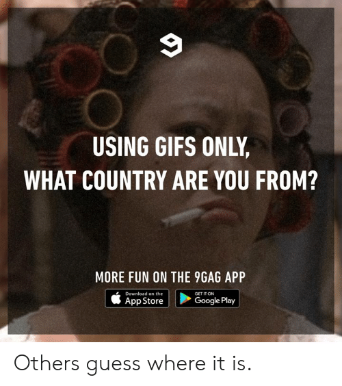 Google Play: USING GIFS ONLY  WHAT COUNTRY ARE YOU FROM?  MORE FUN ON THE 9GAG APP  Download on the  App Store  GET IT ON  Google Play Others guess where it is.