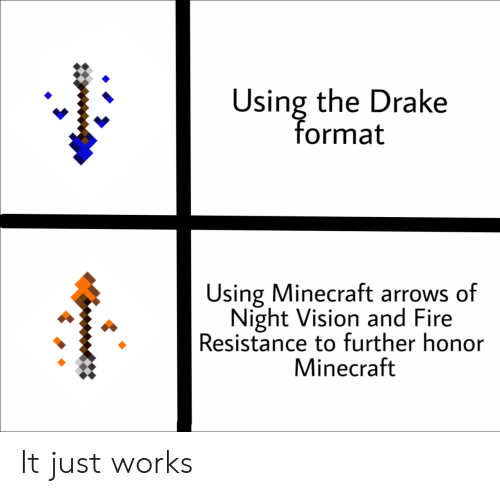 Arrows: Using the Drake  format  太  Using Minecraft arrows of  Night Vision and Fire  Resistance to further honor  Minecraft It just works