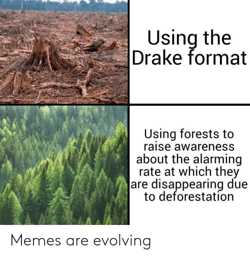 Alarming: Using the  Drake format  Using forests to  raise awareness  about the alarming  rate at which they  are disappearing due  to deforestation Memes are evolving
