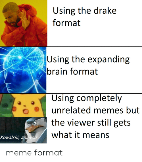 Expanding Brain: Using the drake  format  Using the expanding  brain format  Using completely  unrelated memes but  the viewer still gets  what it means  Kowalski, analysis meme format