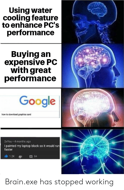 Google How To: Using water  cooling feature  to enhance PC's  performance  Buying an  expensive PC  with great  performance  Google  how to download graphics card  2XYou 4 months ago  I painted my laptop black so it would run  faster  84  1.2K Brain.exe has stopped working
