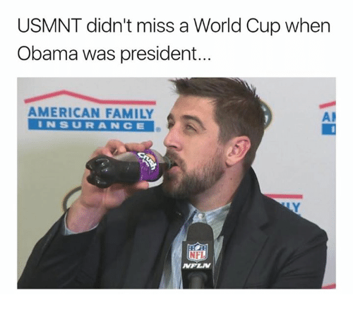 usmnt: USMNT didn't miss a World Cup when  Obama was president..  AMERICAN FAMILY  INSURANCE  AP  NFI  NPLW