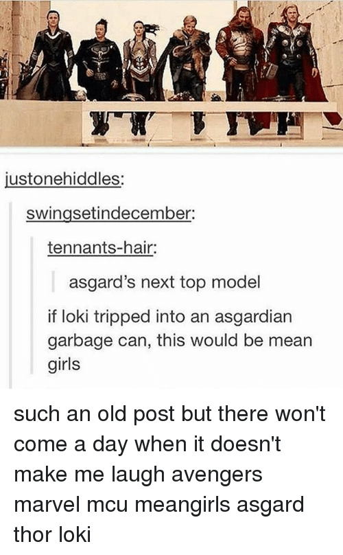 next top model: usto nehiddles.  swingsetindecember:  tennants-hair:  asgard's next top model  if loki tripped into an asgardian  garbage can, this would be mean  girls such an old post but there won't come a day when it doesn't make me laugh avengers marvel mcu meangirls asgard thor loki