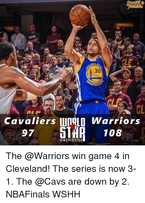 Cavaliers: USUBERS  CLE  ARRIO  Cavaliers WORLD Warriors  97  108  WORLD STAR The @Warriors win game 4 in Cleveland! The series is now 3-1. The @Cavs are down by 2. NBAFinals WSHH