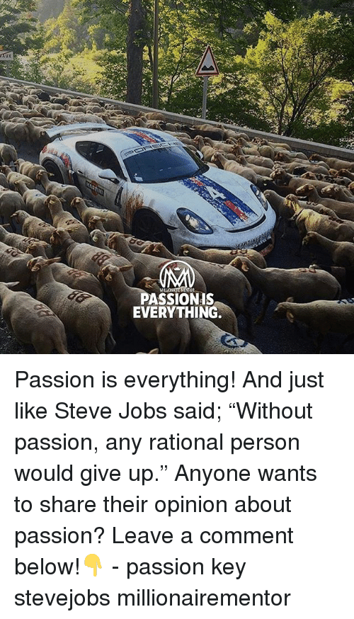 "Memes, Steve Jobs, and Jobs: ux  PASSIONIS  EVERYTHING. Passion is everything! And just like Steve Jobs said; ""Without passion, any rational person would give up."" Anyone wants to share their opinion about passion? Leave a comment below!👇 - passion key stevejobs millionairementor"