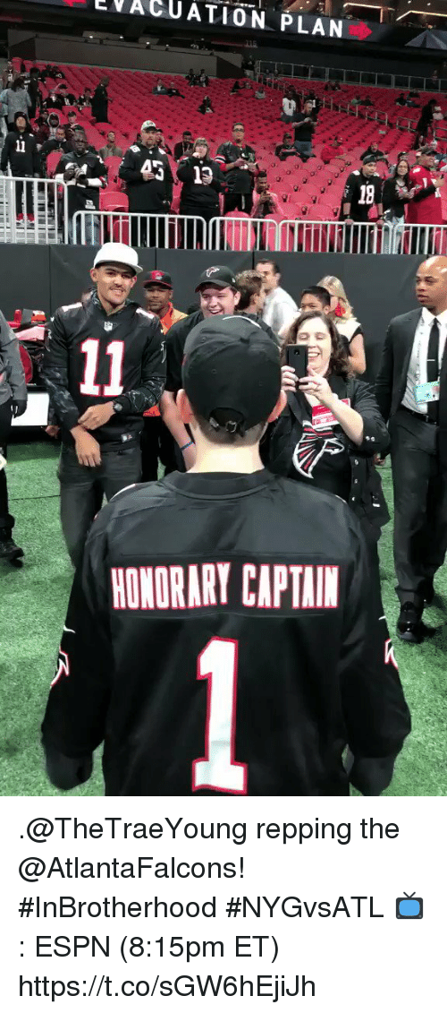 repping: VACUATION PLAN  ET  2101  HONORARY CAPTAIM .@TheTraeYoung repping the @AtlantaFalcons! #InBrotherhood #NYGvsATL  📺: ESPN (8:15pm ET) https://t.co/sGW6hEjiJh