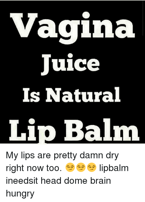 Brains, Head, and Hungry: Vagina  Juice  Is Natural  Lip Balm My lips are pretty damn dry right now too. 😏😏😏 lipbalm ineedsit head dome brain hungry