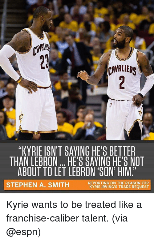 """Stephen A. Smith: VAI  CAVALIERS  """"KYRIE ISN'T SAYING HE'S BETTER  THAN LEBRONHE'S SAVING HE'S NOT  ABOUT TO LET LEBRON SON' HIM.""""  STEPHEN A. SMITH  REPORTING ON THE REASON FOR  KYRIE IRVING'S TRADE REQUEST Kyrie wants to be treated like a franchise-caliber talent. (via @espn)"""