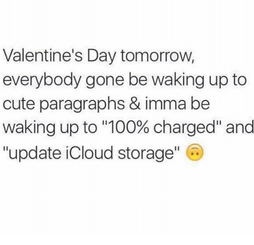 """Icloud: Valentine's Day tomorrow,  everybody gone be waking up to  cute paragraphs & imma be  Waking up to """"100% charged"""" and  """"update iCloud storage"""" C"""