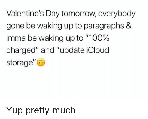 """Icloud: Valentine's Day tomorrow, everybody  gone be waking up to paragraphs &  imma be waking up to """"100%  charged"""" and """"update iCloud  storage"""" Yup pretty much"""