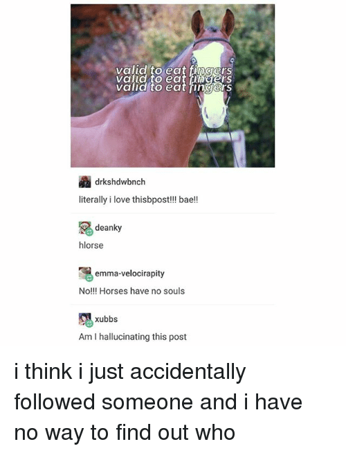 Bae, Horses, and Love: valld to eatngers  valid to eat hn gerS  valid to eat fingers  drkshdwbnch  literally i love thisbpost!! bae!!  deanky  hlorse  emma-velocirapity  No!!! Horses have no souls  xubbs  Am I hallucinating this post i think i just accidentally followed someone and i have no way to find out who