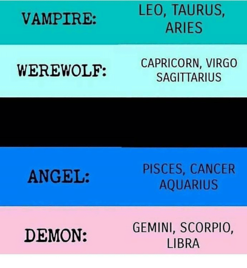 Angel, Aquarius, and Aries: VAMPIRE: LEO, TAURUS  ARIES  WEREWOLF:  CAPRICORN, VIRGO  SAGITTARIUS  PISCES, CANCER  AQUARIUS  ANGEL:  DEMON:  GEMINI, SCORPIO,  LIBRA