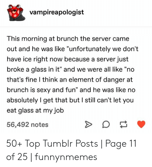 "No Thats: vampireapologist  This morning at brunch the server came  out and he was like ""unfortunately we don't  have ice right now because a server just  broke a glass in it"" and we were all like ""no  that's fine I think an element of danger at  brunch is sexy and fun"" and he was like no  absolutely I get that but I still can't let you  eat glass at my job  56,492 notes 50+ Top Tumblr Posts 