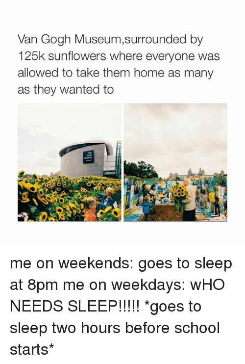 Sunflowering: Van Gogh Museum,surrounded by  125k sunflowers where everyone was  allowed to take them home as many  as they wanted to me on weekends: goes to sleep at 8pm me on weekdays: wHO NEEDS SLEEP!!!!! *goes to sleep two hours before school starts*