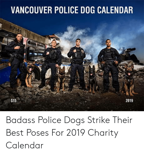 Vancouver: VANCOUVER POLICE DOG CALENDAR  2019  $15 Badass Police Dogs Strike Their Best Poses For 2019 Charity Calendar