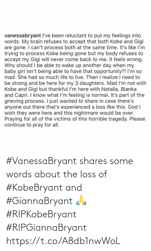 The Loss: #VanessaBryant shares some words about the loss of #KobeBryant and #GiannaBryant 🙏 #RIPKobeBryant #RIPGiannaBryant https://t.co/A8db1nwWoL