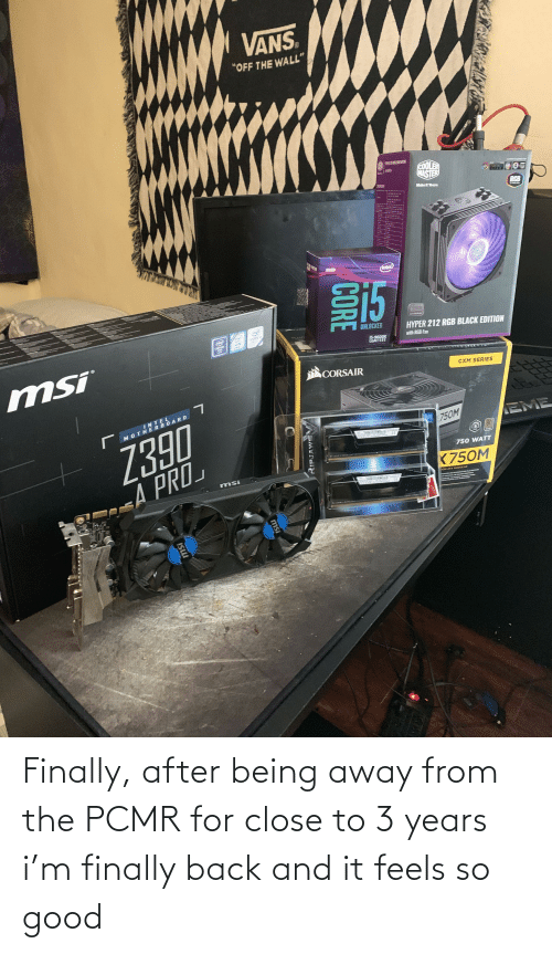 """eme: VANS.  """"OFF THE WALL""""  COOLER  MASTER  MakeR Yours  RGB  SISS  STR EEN  intel  15  inte  OPTANE  CORE  UNLOCKED  CHIPSET  HYPER 212 RGB BLACK EDITION  with RGB Fan  mSi  15-9600K  LCAT151  CORSAIR  CXM SERIES  INTEL  MOTHERBOARD  Z390  EME  750M  80  EYET TYTTY  750 WATT  K750M  EA PRO  adN ATX MODULAR  CORE  RIPJAWSV  msi  ISU Finally, after being away from the PCMR for close to 3 years i'm finally back and it feels so good"""