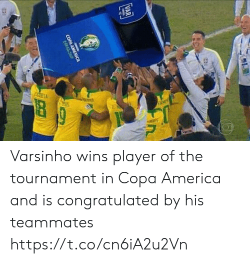 Tournament: VAR  in  COPA AMERICA  CRASit cos Varsinho wins player of the tournament in Copa America and is congratulated by his teammates https://t.co/cn6iA2u2Vn