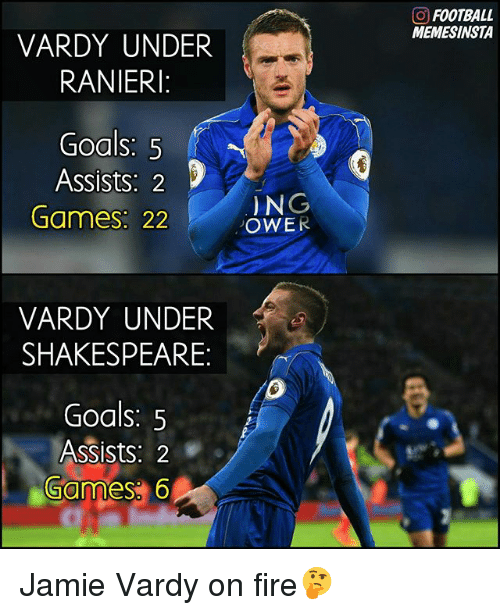 vardy: VARDY UNDER  RANIERI:  Goals: 5  Assists. 2  Games 22  VARDY UNDER  SHAKESPEARE  Goals: 5  Assists: 2  Games 6  N  OWER  FOOTBALL  MEMESINSTA Jamie Vardy on fire🤔