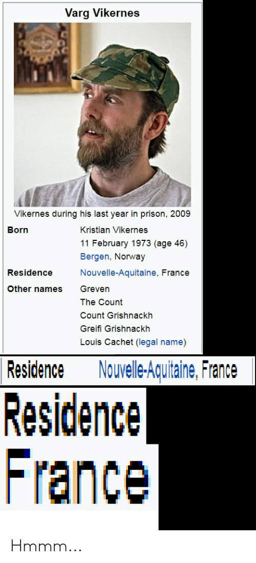 varg vikernes: Varg Vikernes  Vikernes during his last year in prison, 2009  Born  Kristian Vikernes  11 February 1973 (age 46)  Bergen, Norway  Nouvelle-Aquitaine, France  Residence  Other names Greven  The Count  Count Grishnackh  Greifi Grishnackh  Louis Cachet (legal name)  Residence Nouelle-Aquitaine, France  Residence  France Hmmm...