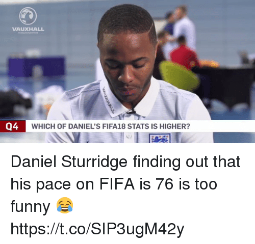 Fifa, Funny, and Soccer: VAUXHALL  Q4  WHICH OF DANIEL'S FIFA18 STATS IS HIGHER? Daniel Sturridge finding out that his pace on FIFA is 76 is too funny 😂 https://t.co/SIP3ugM42y
