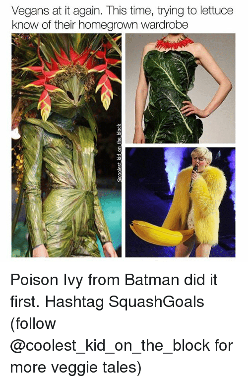 Batman, Memes, and Poison Ivy: Vegans at it again. This time, trying to lettuce  know of their homegrown Wardrobe Poison Ivy from Batman did it first. Hashtag SquashGoals (follow @coolest_kid_on_the_block for more veggie tales)