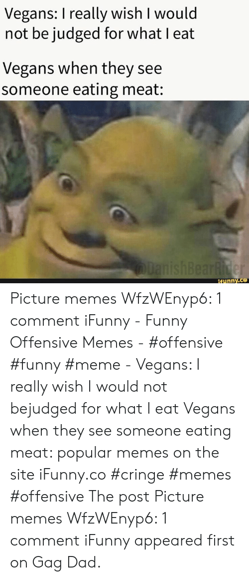 eating meat: Vegans: I really wish I would  not be judged for what I eat  Vegans when they see  someone eating meat:  lanishBearRider  if ynny.co Picture memes WfzWEnyp6: 1 comment iFunny - Funny Offensive Memes - #offensive #funny #meme - Vegans: I really wish I would not bejudged for what I eat Vegans when they see someone eating meat: popular memes on the site iFunny.co #cringe #memes #offensive The post Picture memes WfzWEnyp6: 1 comment iFunny appeared first on Gag Dad.