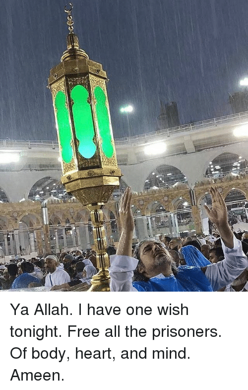 Memes, Free, and Heart: ver? Ya Allah. I have one wish tonight. Free all the prisoners. Of body, heart, and mind. Ameen.