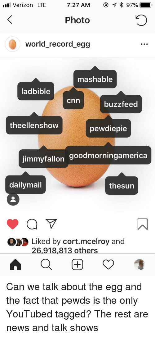 youtubed: Verizon LTE  7:27 AM  97%.  Photo  world_record egg  mashable  ladbible  cnn  buzzfeed  theellenshow  pewdiepie  jimmyfallon goodmorningamerica  dailymail  thesun  Liked by cort.mcelroy and  26,918,813 others