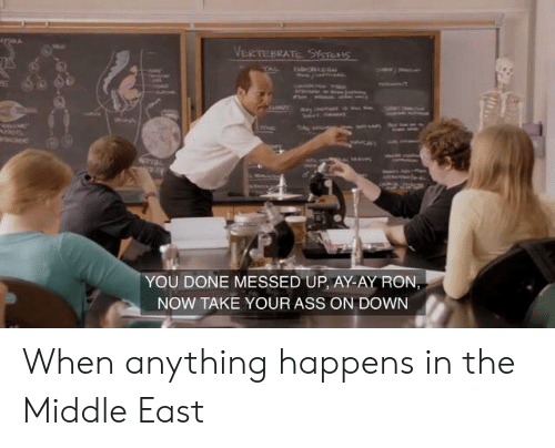 You Done Messed Up: VERTEBRATE StTES  tstenLL  TAL  w  cice  YOU DONE MESSED UP, AY-AY RON,  NOW TAKE YOUR ASS ON DOWN When anything happens in the Middle East