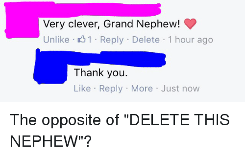 """Clever, Thanks, and Nephew: Very clever, Grand Nephew!  Unlike 1 Reply Delete 1 hour ago  Thank you.  Like Reply More Just now The opposite of """"DELETE THIS NEPHEW""""?"""