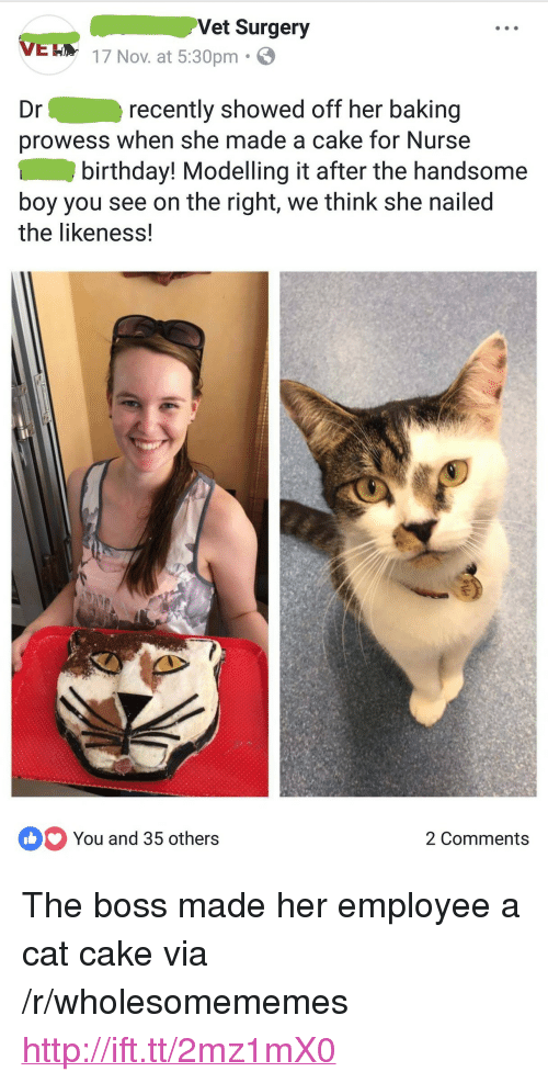 """modelling: Vet Surgery  VEH 17 Nov. at 5:30pm.  Dr  recently showed off her baking  prowess when she made a cake for Nurse  birthday! Modelling it after the handsome  boy you see on the right, we think she nailed  the likeness!  You and 35 others  2 Comments <p>The boss made her employee a cat cake via /r/wholesomememes <a href=""""http://ift.tt/2mz1mX0"""">http://ift.tt/2mz1mX0</a></p>"""
