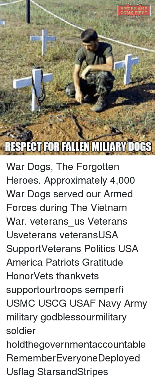 Memes, Soldiers, and Navy: VETERANS  COME FIRST  RESPECTFORFALLEN MILIARY DOGS War Dogs, The Forgotten Heroes. Approximately 4,000 War Dogs served our Armed Forces during The Vietnam War. veterans_us Veterans Usveterans veteransUSA SupportVeterans Politics USA America Patriots Gratitude HonorVets thankvets supportourtroops semperfi USMC USCG USAF Navy Army military godblessourmilitary soldier holdthegovernmentaccountable RememberEveryoneDeployed Usflag StarsandStripes