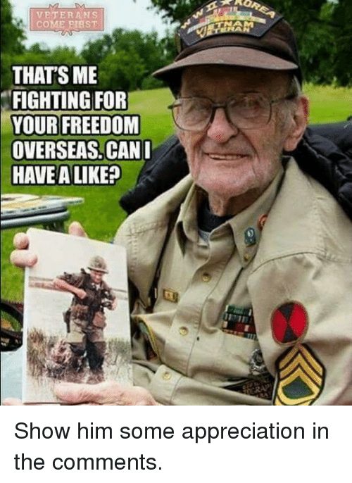 Memes, Freedom, and 🤖: VETERANS  COME PIBST  THAT'S ME  FIGHTING FOR  YOUR FREEDOM  OVERSEAS. CAN  HAVE A LIKE? Show him some appreciation in the comments.
