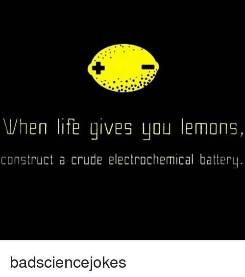Life, Memes, and 🤖: Vhen life gives you lemons,  construct a crude electrochemical battery badsciencejokes