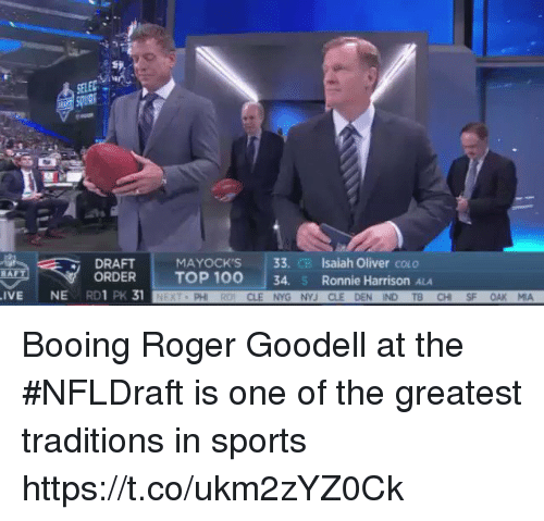 Anaconda, Nfl, and Roger: vi  DRAFT  ORDER  MAYOCK'S 33. CB Isaiah Oliver couo  TOP 100  | 34, s Ronnie Harrison ALA  IVE NE RD1 PK 31  PH  CLE NYG NYJ CLE DEN IND TB CHI SF OAK MA Booing Roger Goodell at the #NFLDraft is one of the greatest traditions in sports  https://t.co/ukm2zYZ0Ck