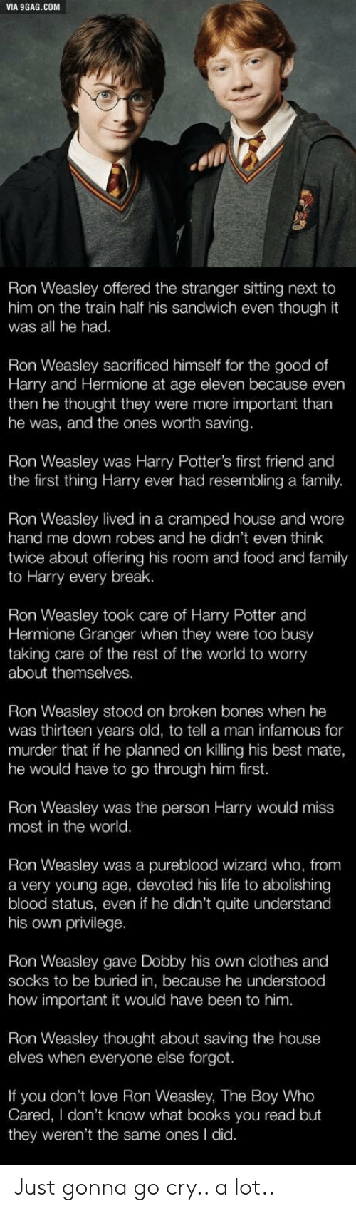 Broken Bones: VIA 9GAG.COM  Ron Weasley offered the stranger sitting next to  him on the train half his sandwich even though it  was all he had.  Ron Weasley sacrificed himself for the good of  Harry and Hermione at age eleven because even  then he thought they were more important tharn  he was, and the ones worth saving.  Ron Weasley was Harry Potter's first friend and  the first thing Harry ever had resembling a family.  Weasley lived in a cramped house and wore  hand me down robes and he didn't even think  twice about offering his room and food and family  to Harry every break.  Ron Weasley took care of Harry Potter and  Hermione Granger when they were too busy  taking care of the rest of the world to worry  about themselves.  Ron Weasley stood on broken bones when he  was thirteen years old, to tell a man infamous for  murder that if he planned on killing his best mate,  he would have to go through him first.  Ron Weasley was the person Harry would miss  most in the world.  Ron Weasley was a pureblood wizard who, from  a very young age, devoted his life to abolishing  blood status, even if he didn't quite understand  his own privilege.  Ron Weasley gave Dobby his own clothes and  socks to be buried in, because he understood  how important it would have been to him  Ron Weasley thought about saving the house  elves when everyone else forgot.  If you don't love Ron Weasley, The Boy Who  Cared, I don't know what books you read but  they weren't the same ones I did. Just gonna go cry.. a lot..